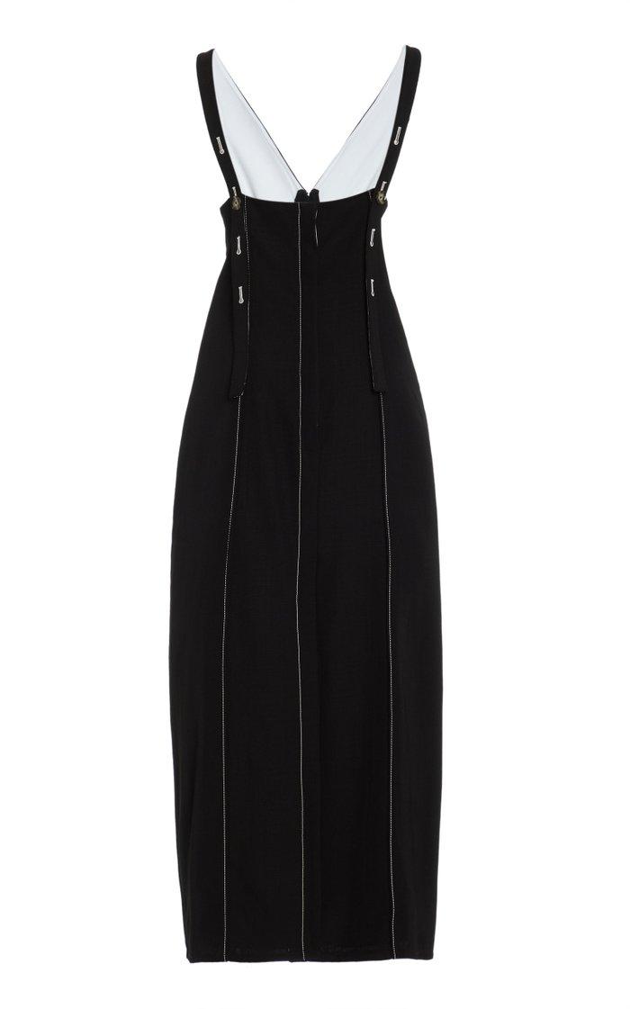 Button-Detail Midi Dress