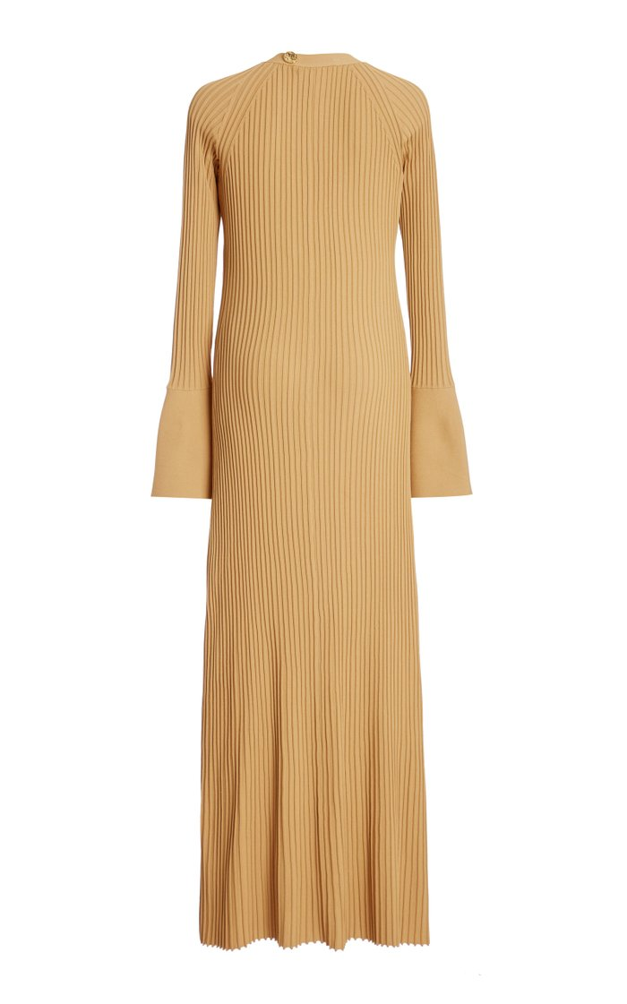 Ribbed Button-Front Knit Dress