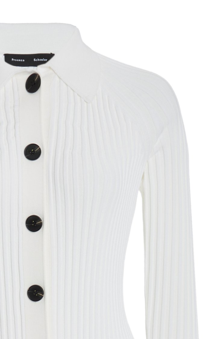 Ribbed Knit Collared Cardigan