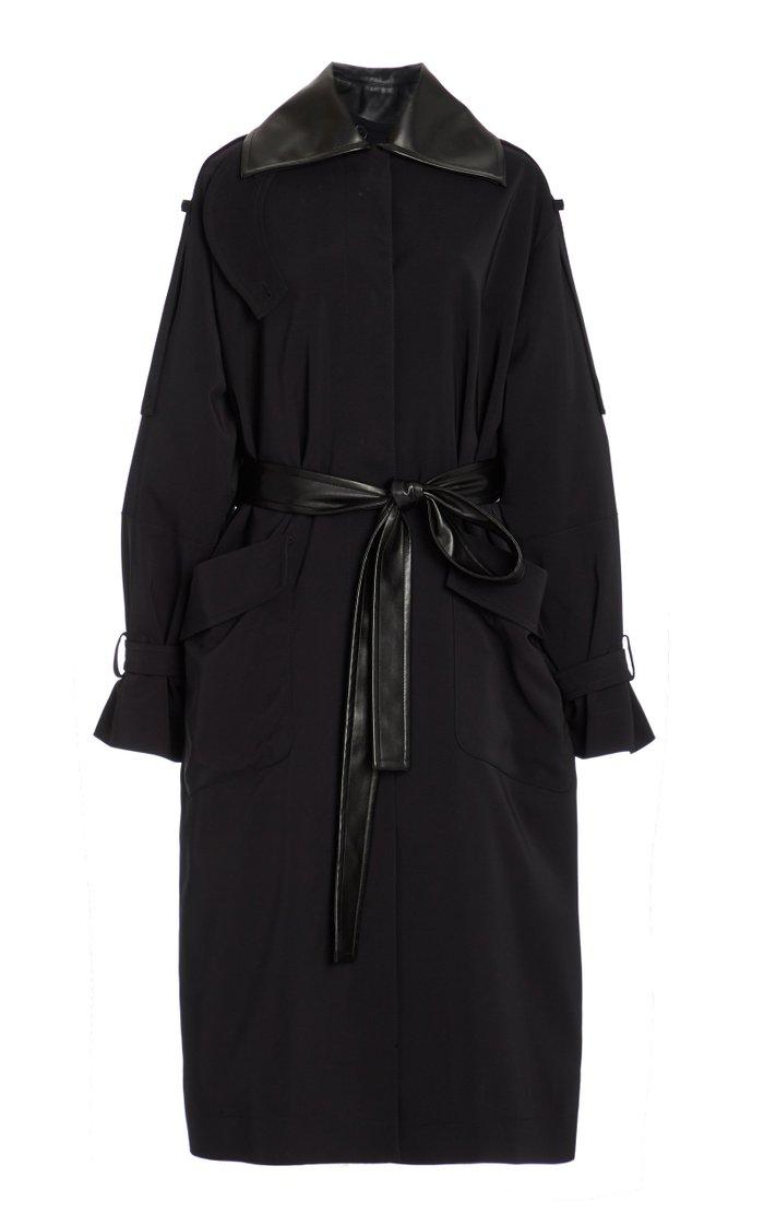 Nylon Gabardine Belted Trench Coat