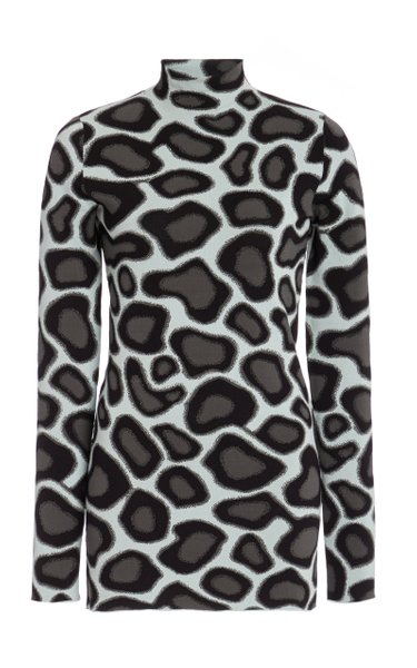 Abstract Spotted Mockneck Top