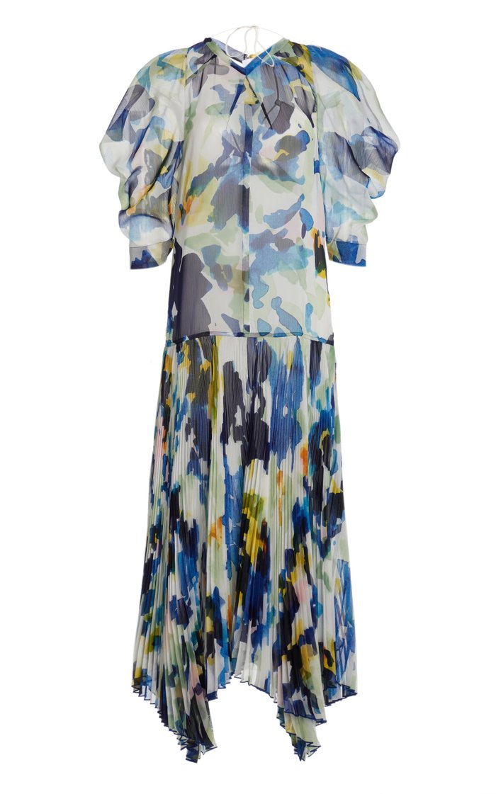 Painted Floral Chiffon Drop Waist Dress