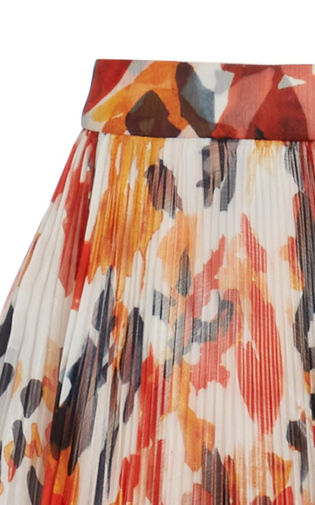 Painted Floral Pleated Chiffon Skirt
