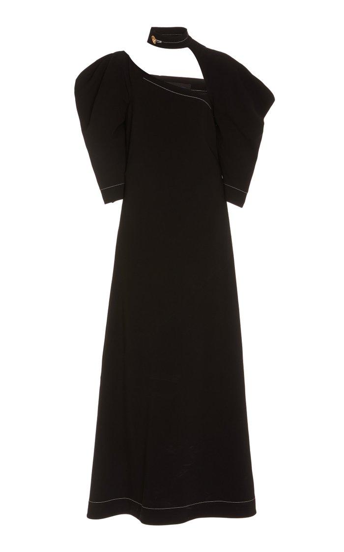 Matte Viscose Crepe Cut Out Dress