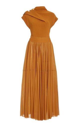 Ribbed-Knit and Jersey Maxi Dress