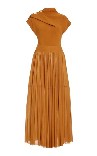 Ribbed-Knit and Jersey Maxi Dress