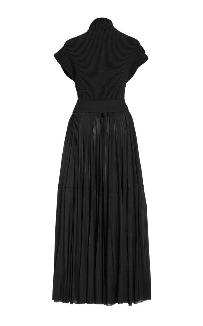 Draped Ribbed Knit Midi Dress