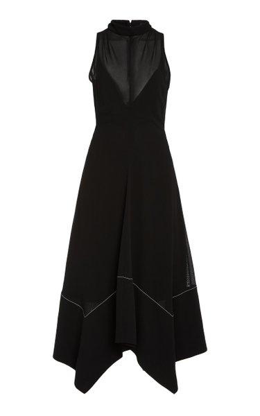 Asymmetric Hem Silk Midi Dress