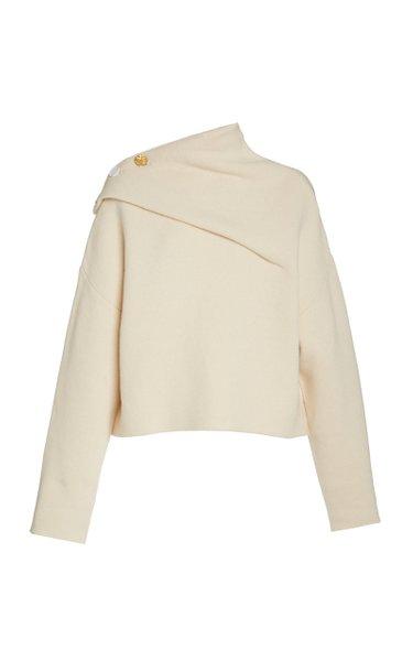 Eco Cashmere Doubleface Button Shoulder Sweater