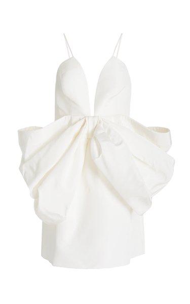 Exclusive Bow-Detailed Silk Faille Mini Dress