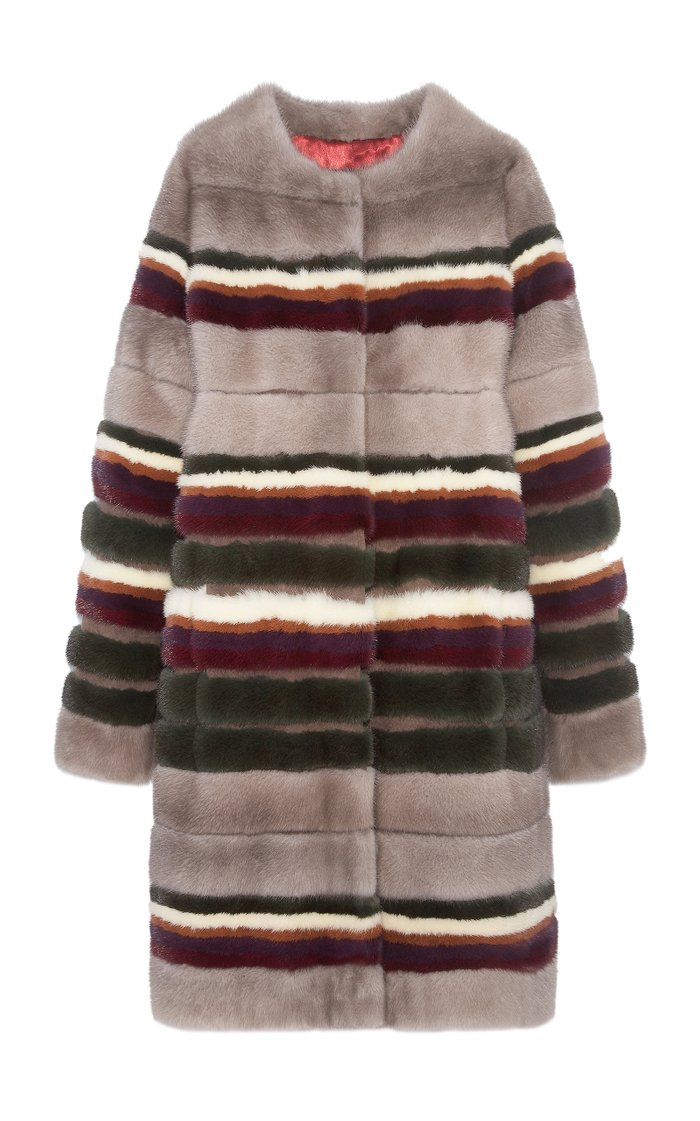 The Dahlia Collarless Mink Striped Coat