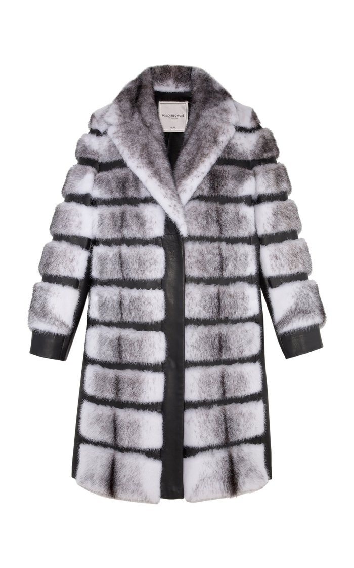 The Leah Notch Collar Cross Mink Coat
