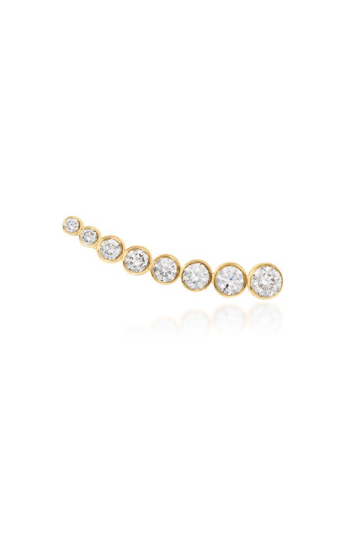 Croissant de Lune 18K Yellow Gold Diamond Earring
