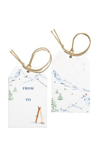 Set-Of-Ten Winter Mountain Painted Gift Tags