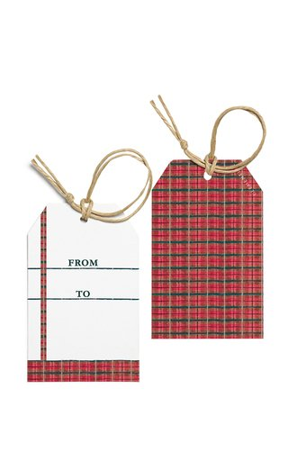 Set-Of-Ten Tartan-Painted Gift Tags