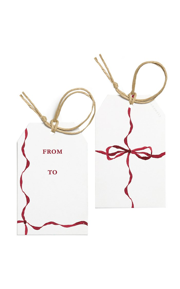 Set-Of-Ten Ribbon-Painted Gift Tags