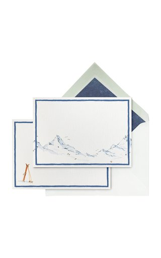 Set-Of-Ten Winter Mountain Painted Stationary Cards