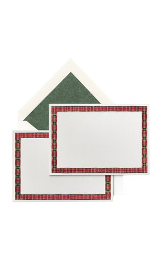 Set-Of-Ten Tartan-Painted Stationary Cards