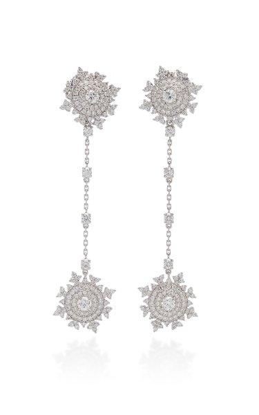 Petite Tsarina Detachable 18K White Gold Long Earrings