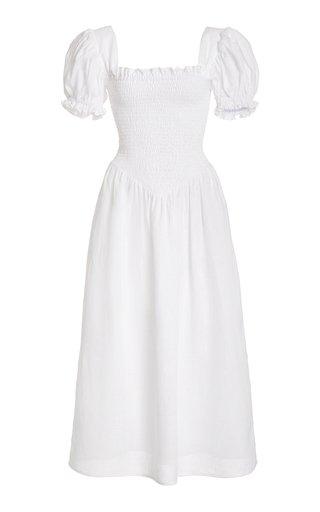 Belle Ruffled Pleated Linen Dress