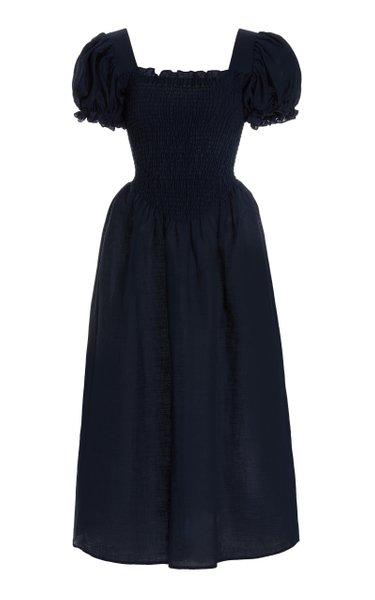 Belle Smocked Linen Midi Dress
