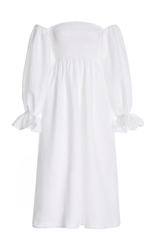 Atlanta Smocked Linen Off-The-Shoulder Midi Dress