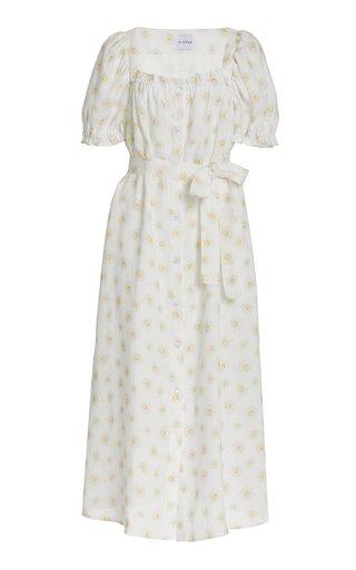Brigitte Daisy-Print Linen Midi Dress
