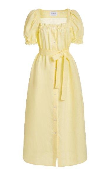 Brigitte Belted Linen Midi Dress