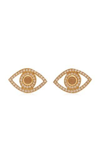 Eye 18K Yellow Gold Diamond, Quartz Earrings