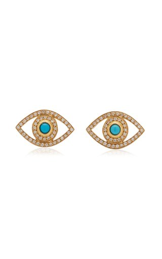 Mini Eye 18K Yellow Gold Diamond, Turquoise Earrings