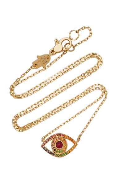 Mini Eye 18K Yellow Gold Sapphire, Quartz Necklace