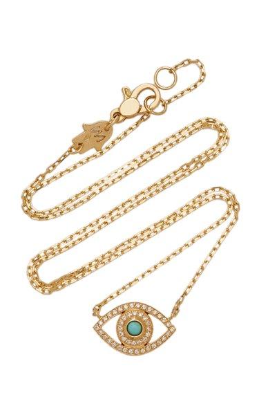 Mini Eye 18K Yellow Gold Diamond, Turquoise Necklace