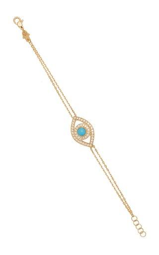 Eye 18K Yellow Gold Diamond, Turquoise Bracelet