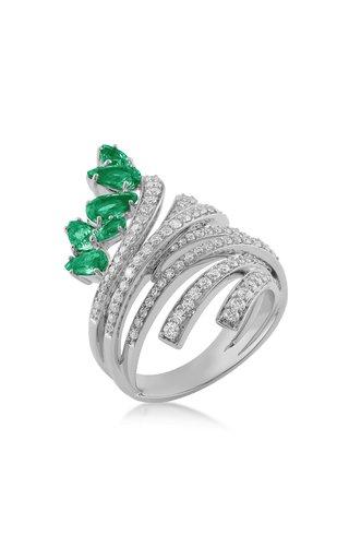 Mirage 18K White Gold Diamond, Emerald Ring