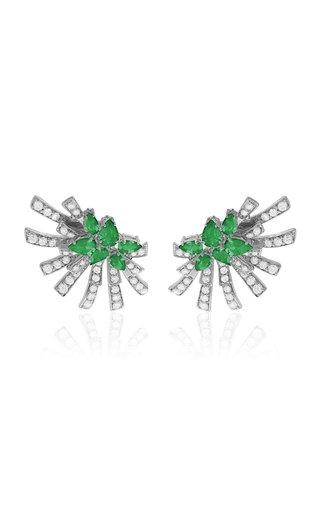 Mirage 18K White Gold Diamond, Emerald Earrings