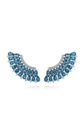Mirage 18K White Gold Diamond, Topaz Earrings
