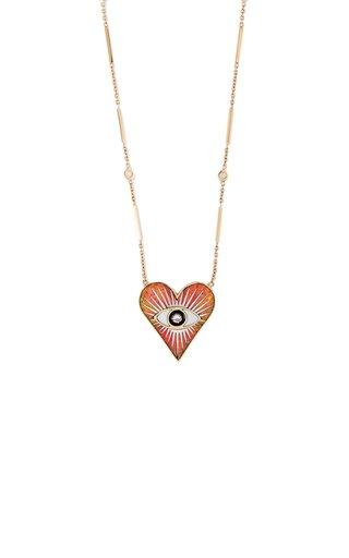 Eye Burst 14K Yellow Gold Opal, Onyx, Diamond Necklace