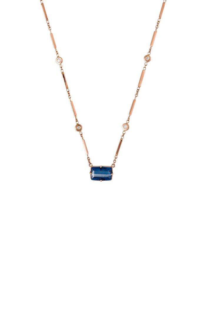 14K Rose Gold Iolite, Diamond Necklace