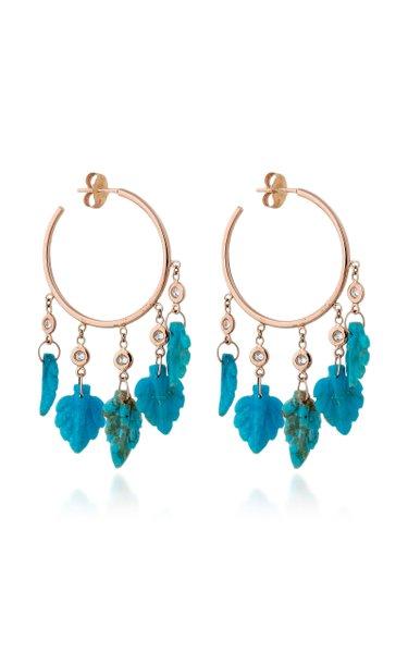 Leaf Shaker 14K Rose Gold Turquoise, Diamond Earrings