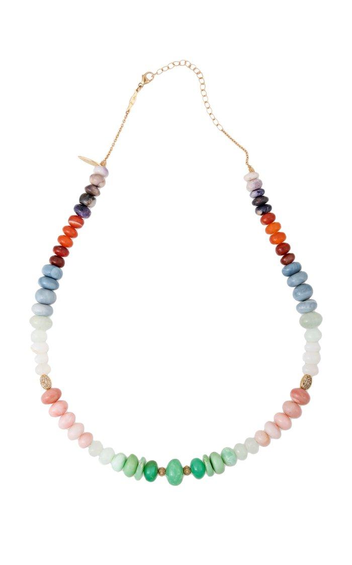 14K Yellow Gold Opal, Diamond Necklace