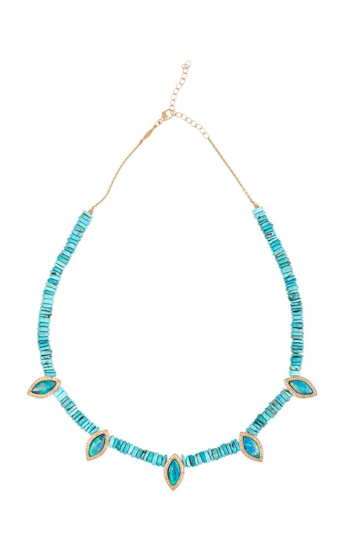 14K Yellow Gold Opal, Turquoise, Diamond Necklace