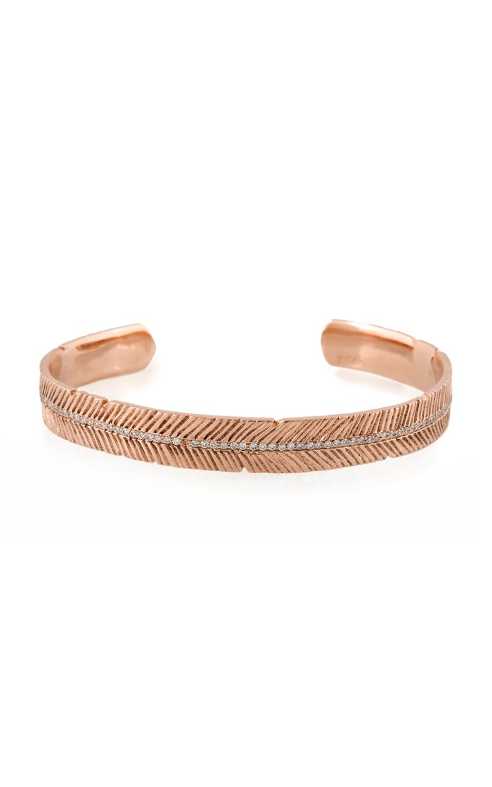 Feather 14K Rose Gold Diamond Cuff