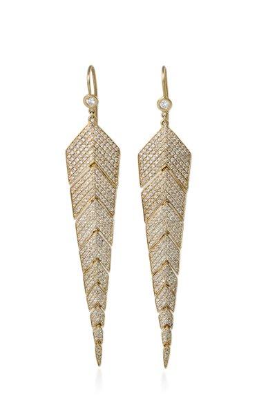 Fishtail 14K Yellow Gold, Diamond Earrings