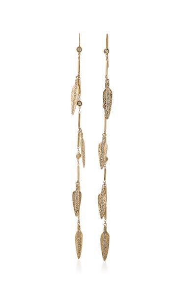 Feather 14K Yellow Gold, Diamond Earrings