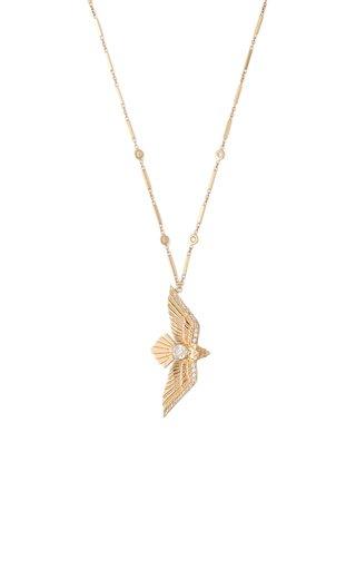 Flying Bird 14K Yellow Gold Diamond Necklace