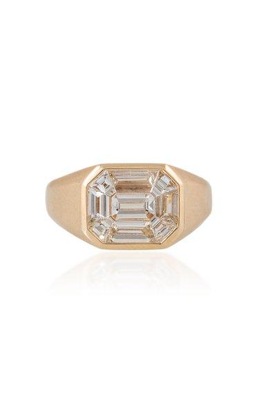 Large Illusion 14K Yellow Gold Diamond Ring