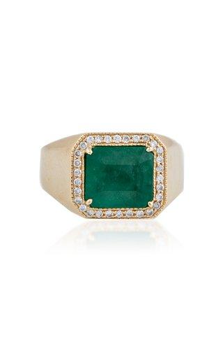 14K Yellow Gold Emerald, Diamond Ring