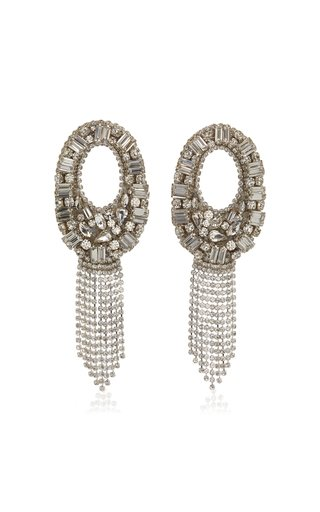 Crystal-Beaded Chain Earrings