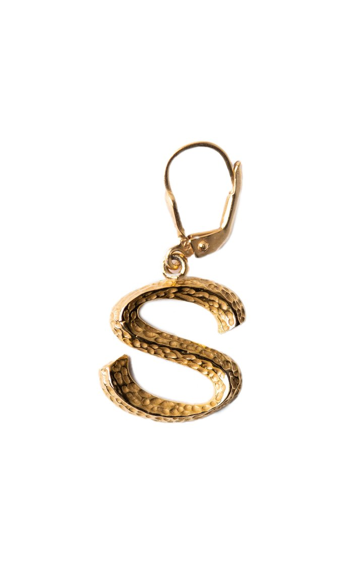 14K Gold-Plated Signature Letter Single Earring