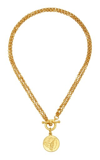 Gold-Plated Double-Chain Coin Necklace